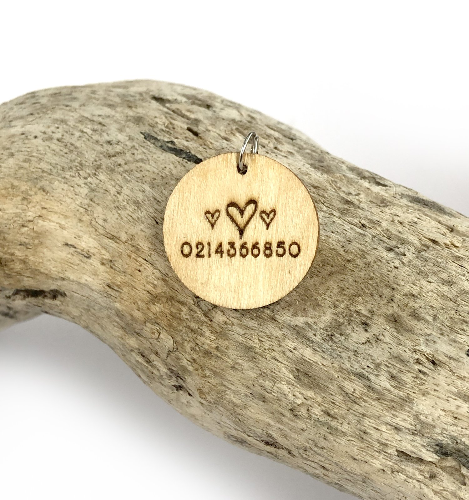 Dog Pet ID Tag Wooden with phone number